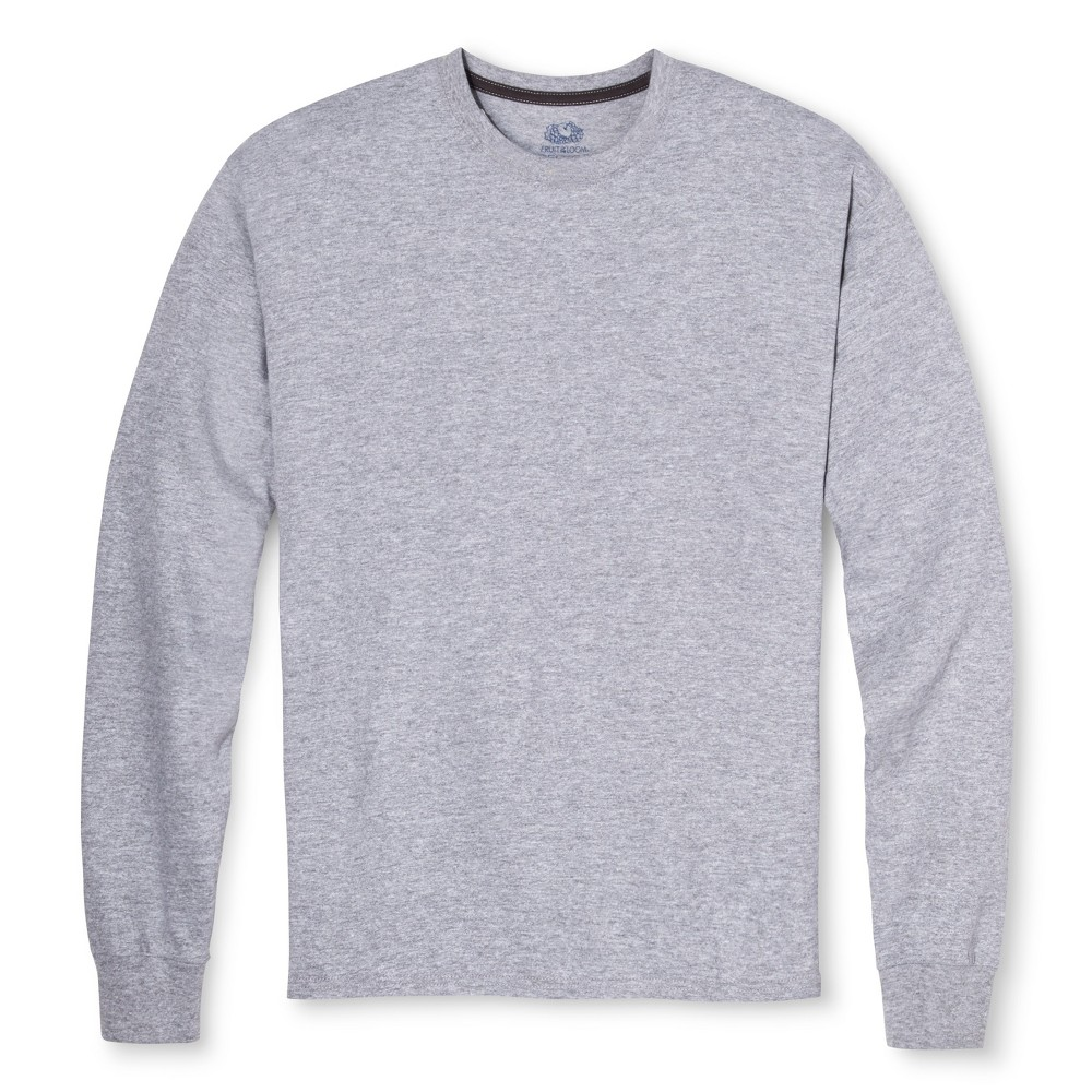 Men's Fruit of the Loom Long Sleeve T-Shirt Athletic Heather -L, Size: Large, Heather Gray