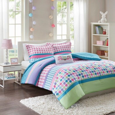 Linda Polka Dot Comforter Set - Aqua