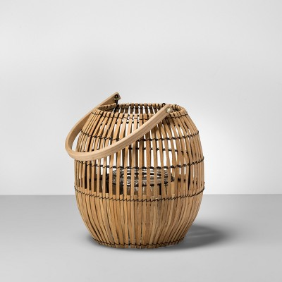9  Outdoor Rattan Lantern Candle Holder - Natural Wood - Opalhouse™