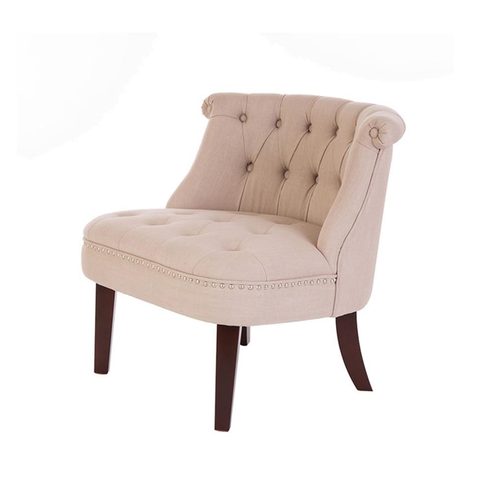 Fabric Accent Chair With Tufted and Studded Design Beige - Glitzhome
