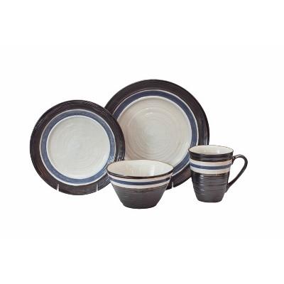16pc Stoneware Rustic Stripe Dinnerware Set Black - Baum Bros.