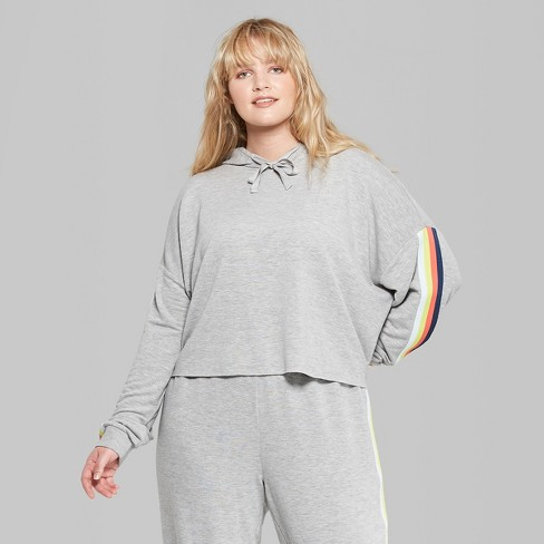 6c18eaed88eea Women s Plus Size Cropped Striped Rainbow Placed Hoodie - Wild Fable™  Heather Gray 2X   Target