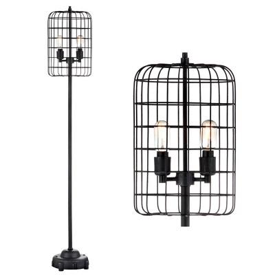 "65"" Odette Industrial Metal Floor Lamp (Includes Light Bulb) Black - JONATHAN Y"