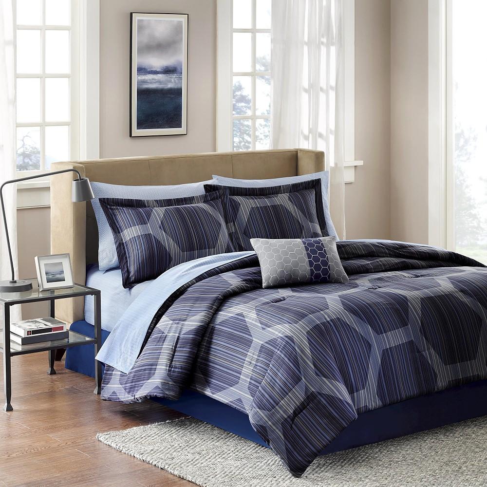 Donovan 9 Piece Comforter Set - Blue (King)