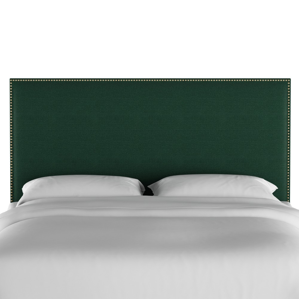 California King Arcadia Nailbutton Headboard Linen Conifer Green with Gold Nail Buttons - Skyline Furniture