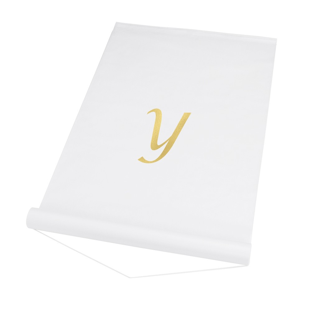 34 Y 34 Personalized Wedding Aisle Runner White