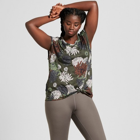 Women's Plus Size Chrysanthemum Floral Print Knot Front Muscle Tank - JoyLab™ Olive - image 1 of 2