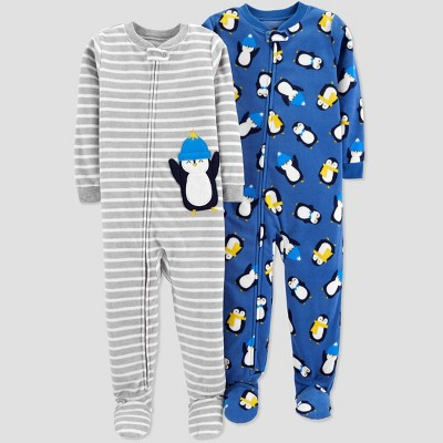 Baby Boys' Fleece Stripe Penguin Pajama Set - Just One You® made by carter's Gray 9M