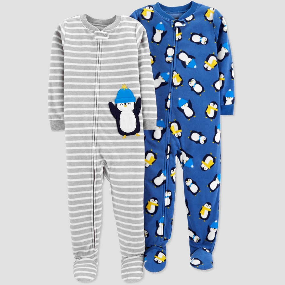 Baby Boys' Fleece Stripe Penguin Pajama Set - Just One You made by carter's Gray 18M