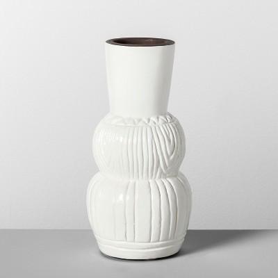 10  x 4.7  Etched Terra Cotta Vase White - Opalhouse™