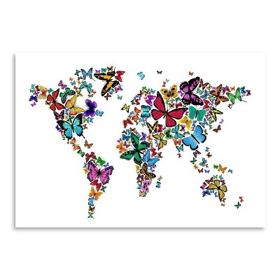 Americanflat Map Butterfly by Michael Tompsett Poster