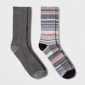 Mens Striped 2pk Athletic Crew Socks - Goodfellow & Co™ 6-12