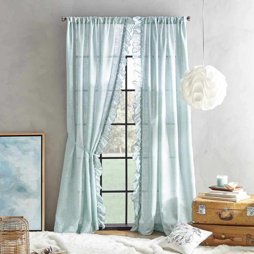 "Image of ""108"""" Arabella Flippable Curtain Panel Aqua"""