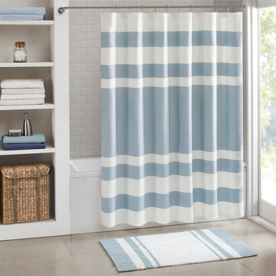 Spa Waffle Shower Curtain with 3M Treatment Blue