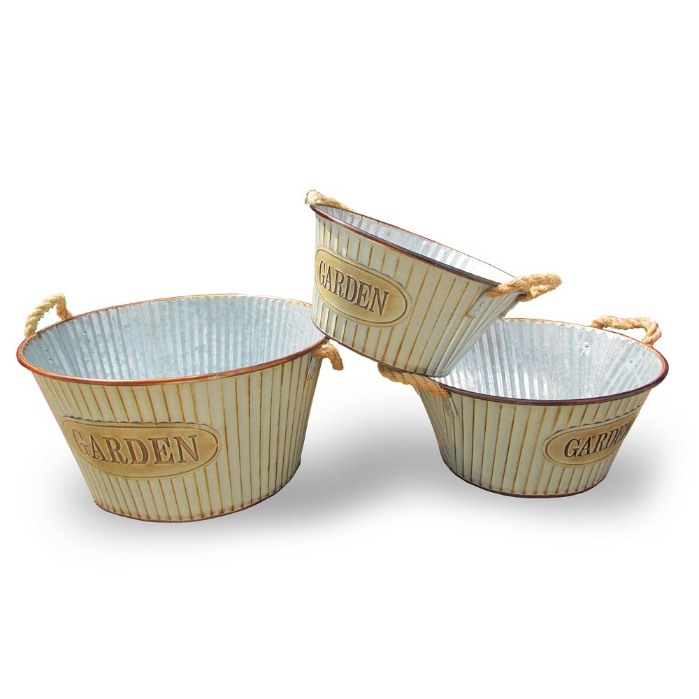 Image of 3-Pc Steel Pot Assortment Cream - National Tree Company