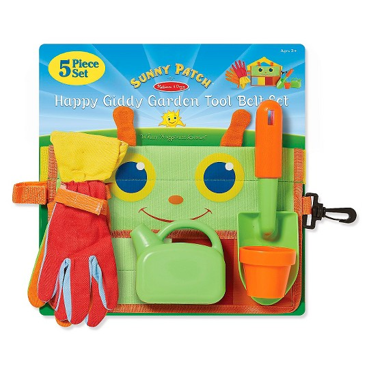 Melissa & Doug Sunny Patch Happy Giddy Garden Tool Belt Set With Gloves, Trowel, Watering Can, and Pot image number null