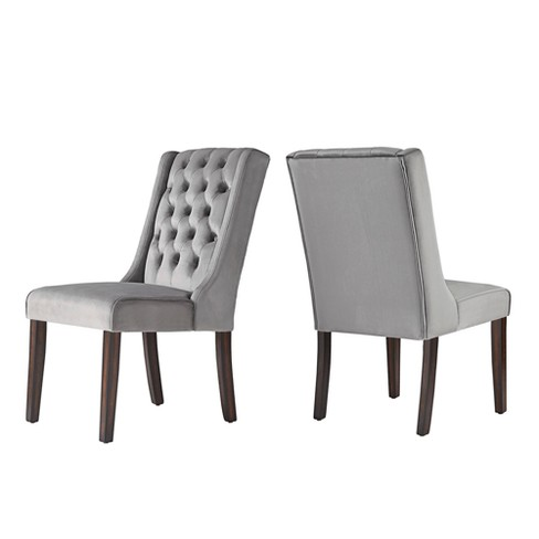 Set of 2 Old Town Velvet Wingback Button Tufted Hostess Chair Gray - Inspire Q - image 1 of 4