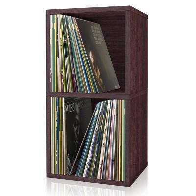 Way Basics Eco 2 Shelf Vinyl Record Storage Bookshelf Espresso Wood Grain