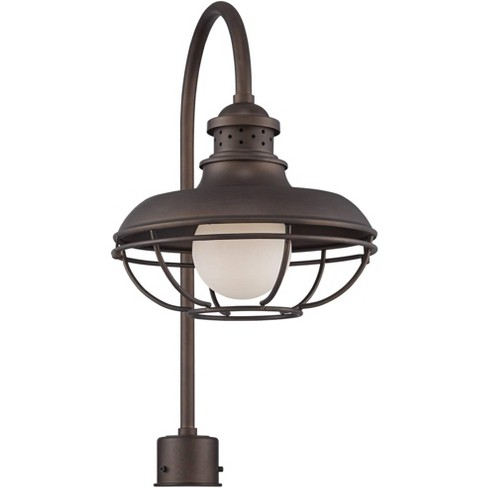 Franklin Iron Works Vintage Outdoor Post Light Oil Rubbed Bronze Open Cage 23 1 2 White Glass Orb For Exterior Garden Yard Porch Target