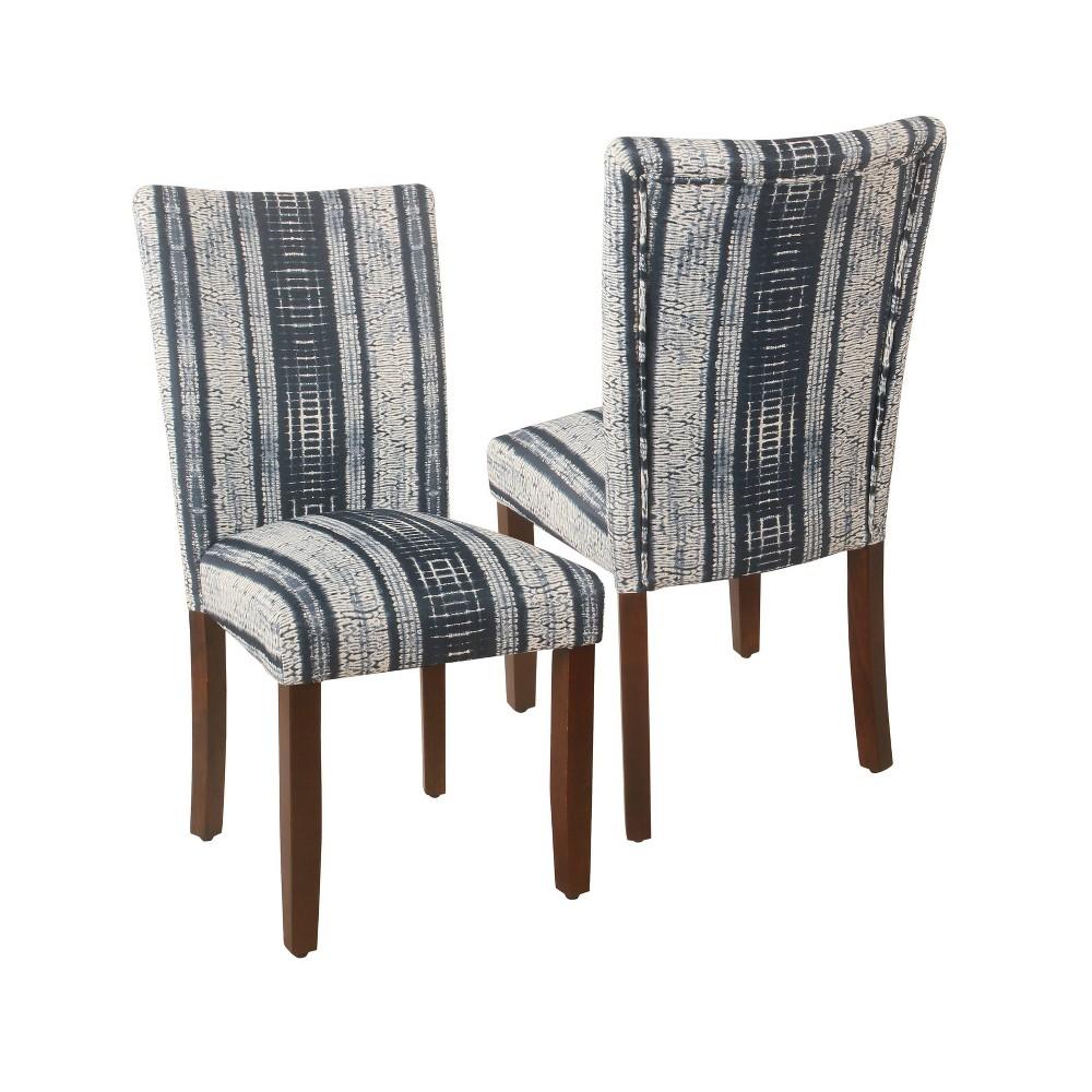 Set Of 2 Parson Dining Chair Indigo Stripes Homepop