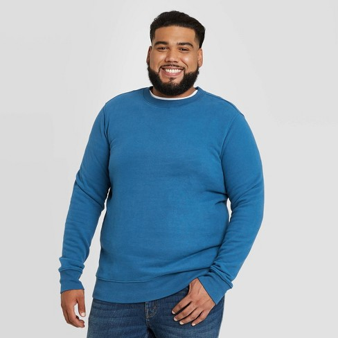 Men's Big & Tall Regular Fit Fleece Crew Sweatshirt - Goodfellow & Co™ Dark Blue - image 1 of 3