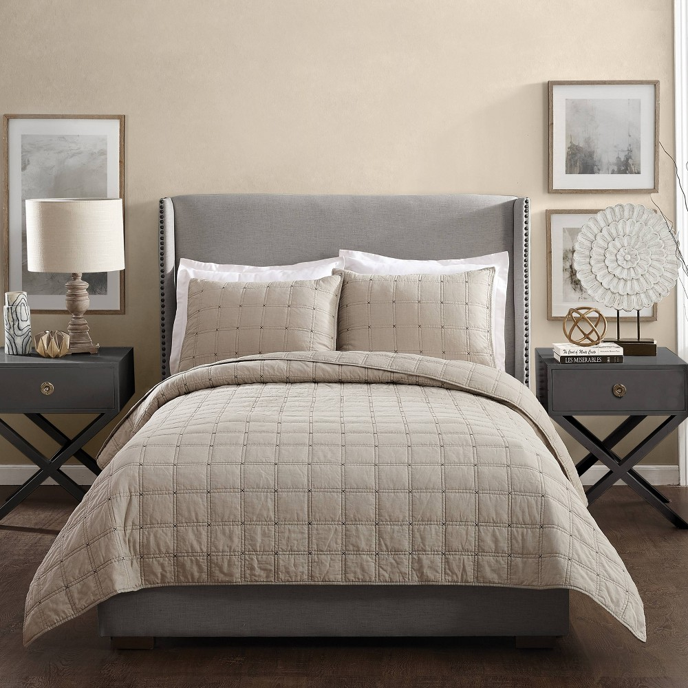 Image of Ayesha Curry Hayden King Quilt Taupe, Brown