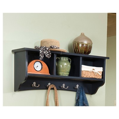 Coat Hooks with Storage Cubbies Black - Alaterre Furniture