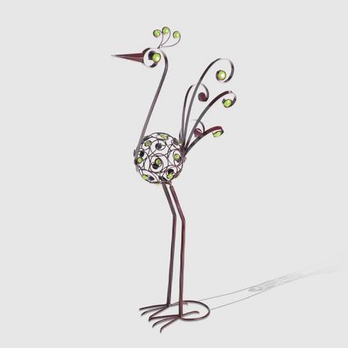 "48"" Resin Filigree Bird Statue With Green Beads Bronze - Exhart - image 1 of 1"