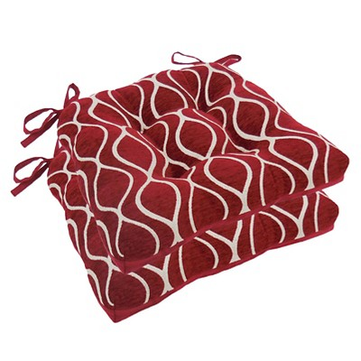 Royal Burgundy Gemma Chenille Geometric Chair Pads With Tiebacks (Set Of 4)- Essentials