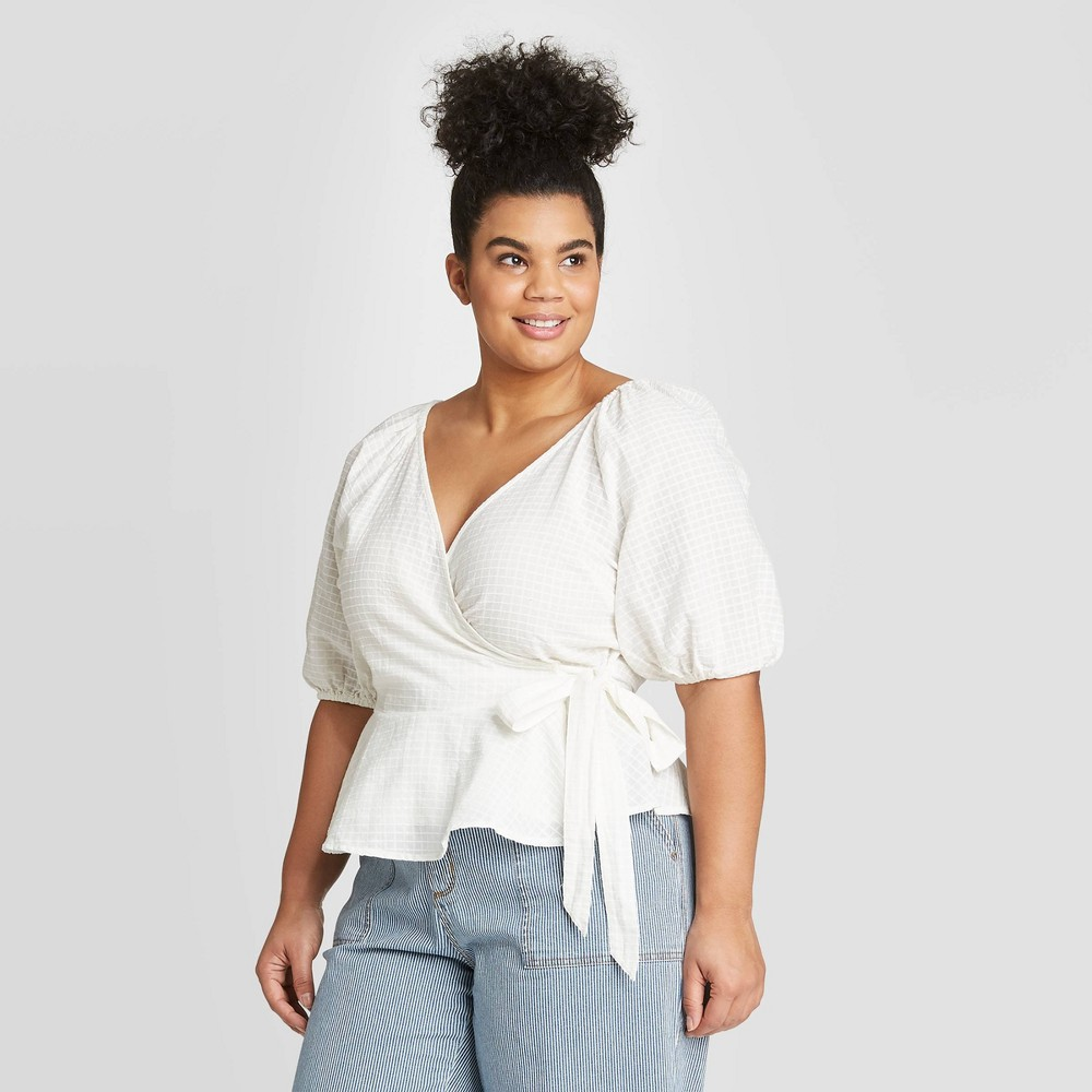 Image of Women's Plus Size Elbow Sleeve Wrap Top - Universal Thread White 1X, Women's, Size: 1XL, Ivory