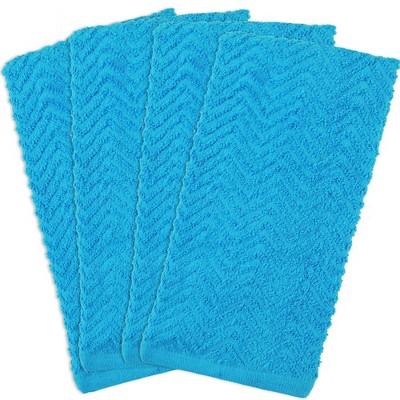 4pk Cotton ZigZag Dishtowels Blue - Design Imports