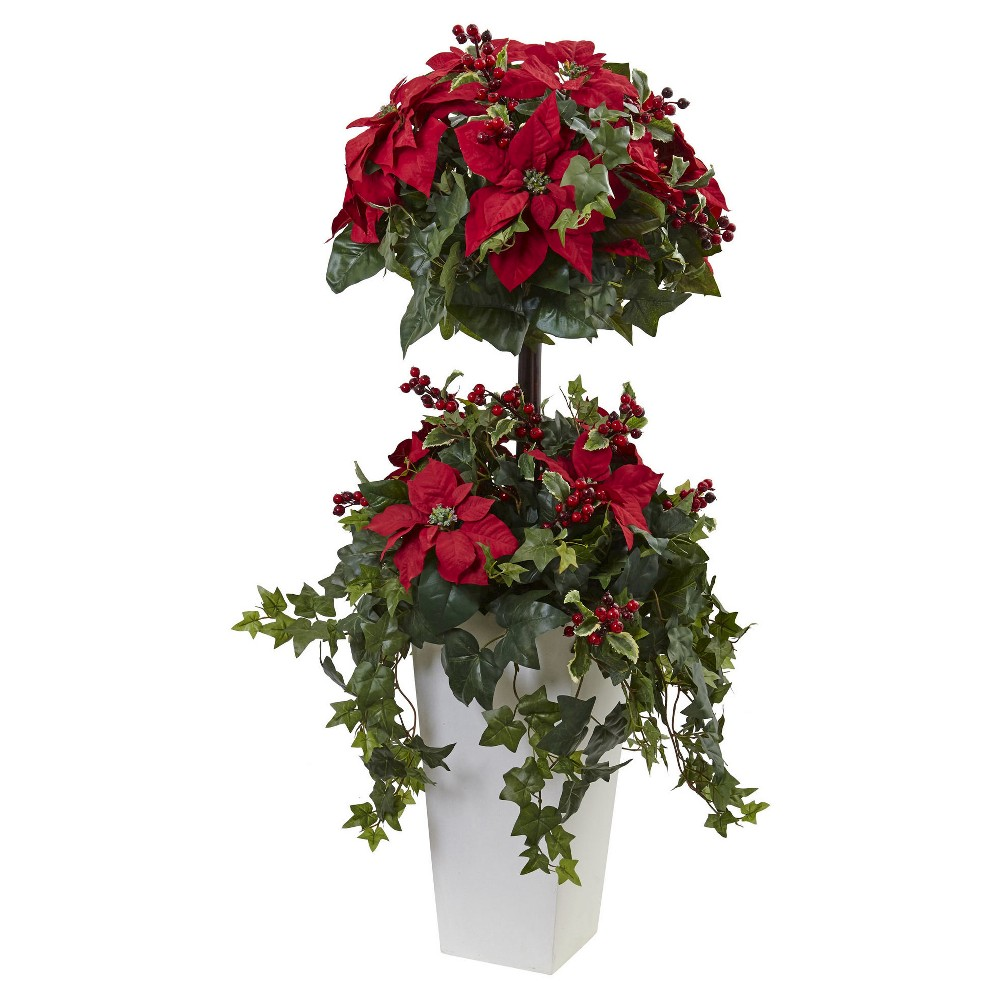 Poinsettia Berry Topiary with Decorative Planter - Green (4)