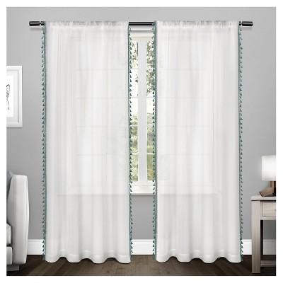 Tassels Textured Sheer Bordered Tassel Applique Rod Pocket Window Curtain Panel Pair Teal (54 x84 )Home