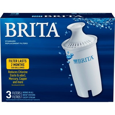 Brita Standard BPA Free Replacement Water Filters for Pitchers and Dispensers - 3ct