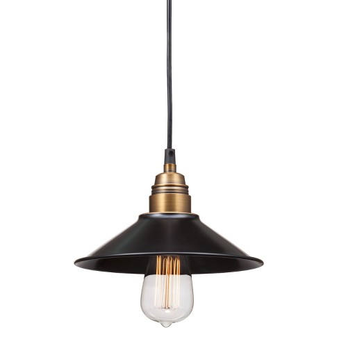"Rustic Antique Black Gold and Brass 9"" Ceiling Lamp - ZM Home - image 1 of 2"