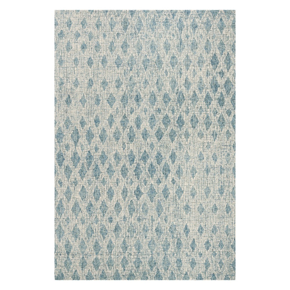 8'X10' Diamond Tufted Area Rug Ivory/Blue - Safavieh, White Blue