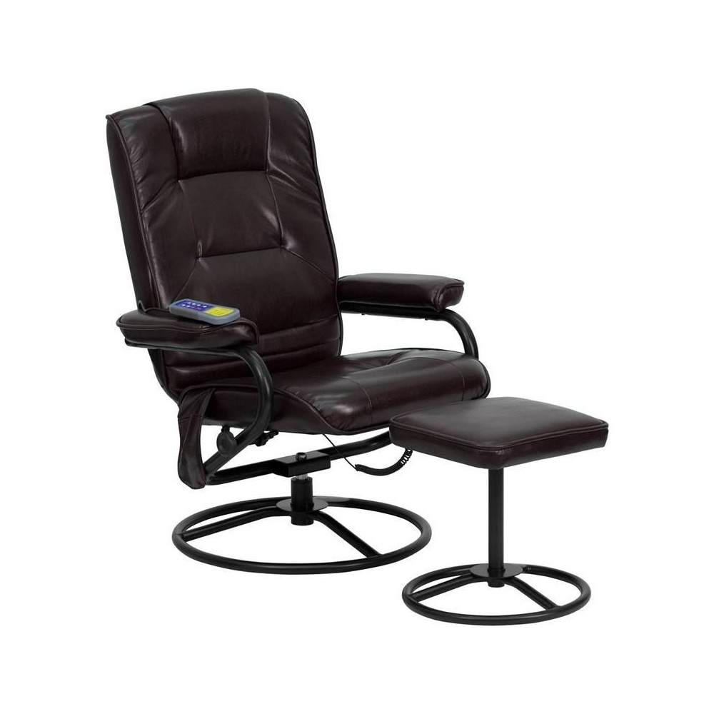 Image of 2pc Massaging Multi Position Recliner/Ottoman with Metal Bases Brown - Riverstone Furniture Collection