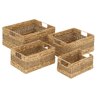 """Olivia & May 16""""x14""""x12""""x10"""" Set of 4 Rectangular Braided Seagrass Baskets with Handles"""