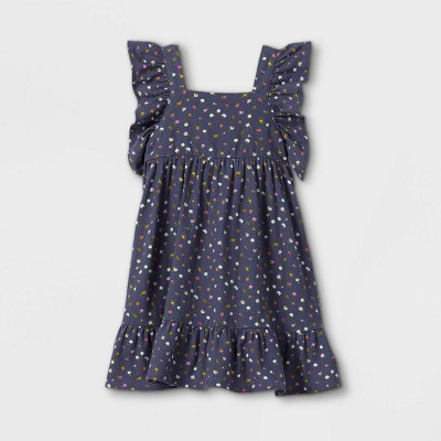 Toddler Girls' Floral Ruffle Sleeve Dress - Cat & Jack™ Navy