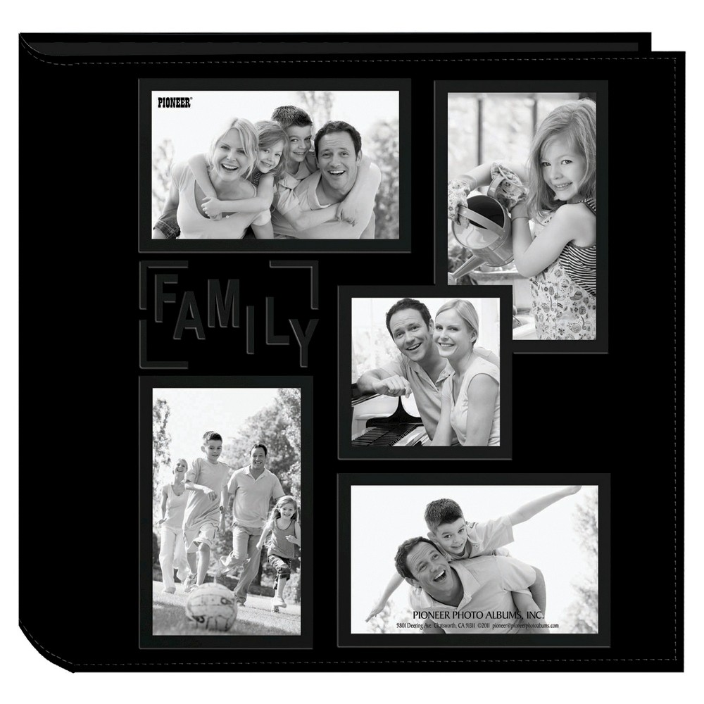 Image of Embossed Collage Frame 5 Up Photo Family Album, White Black