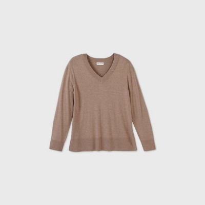 Women's Plus Size V-Neck Pullover Sweater - Ava & Viv™