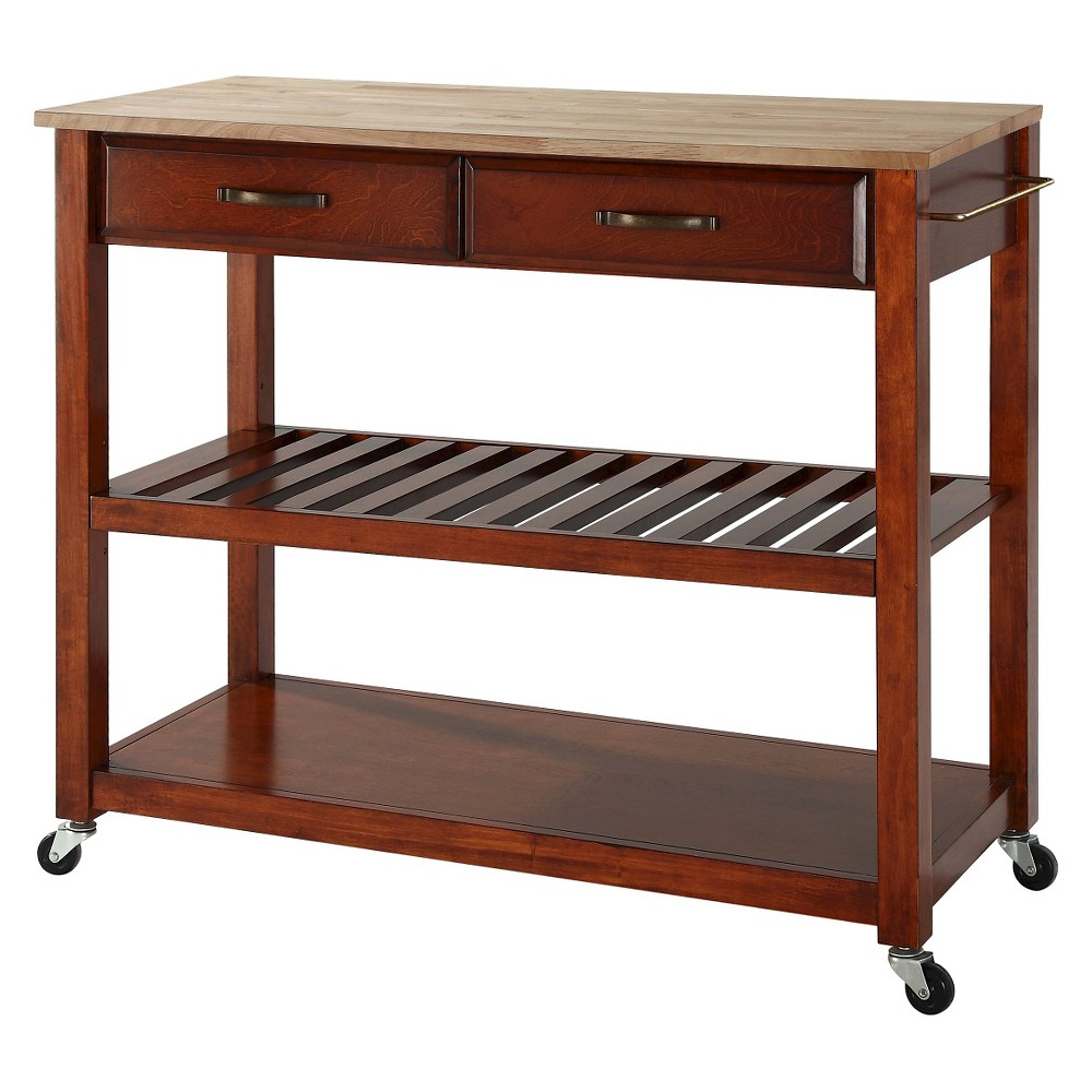 Natural Wood Top Kitchen Cart/Island With Optional Stool Storage - Classic Cherry (Red) - Crosley