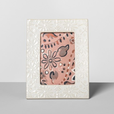 Embossed Ceramic Frame White 4 x6  - Opalhouse™