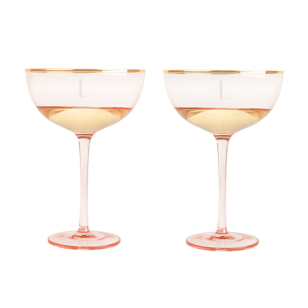 Cathy's Concepts Rose Personalized 8oz. Gilded Rim Coupe Flutes - L, Pink Gold