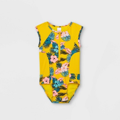 Toddler Girls' Floral Zip-Front One Piece Swimsuit - Cat & Jack™ Yellow