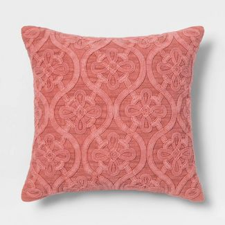 Cord Embroidered Square Throw Pillow Rose - Threshold™