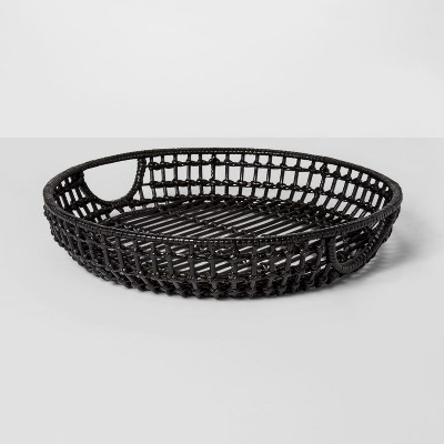 16  x 3  Iron And Rattan Tray Black - Project 62™