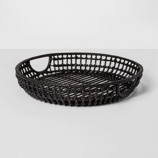 "16"" x 3"" Iron And Rattan Tray Black - Project 62™"