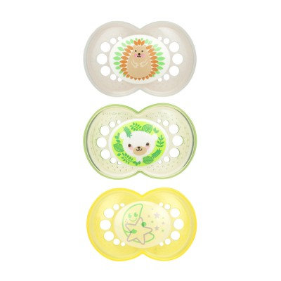 MAM Day & Night Pacifier 6+ Months - Green/Yellow 3pk
