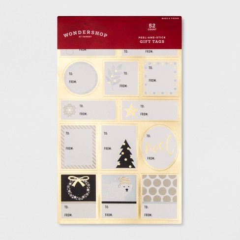 52ct Peel & Stick Gold Accent Gift Tag Set - Wondershop™ - image 1 of 1